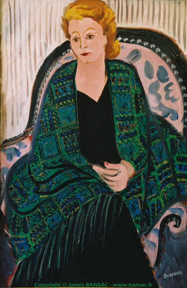Jeanne Couturier, châle vert - 1944