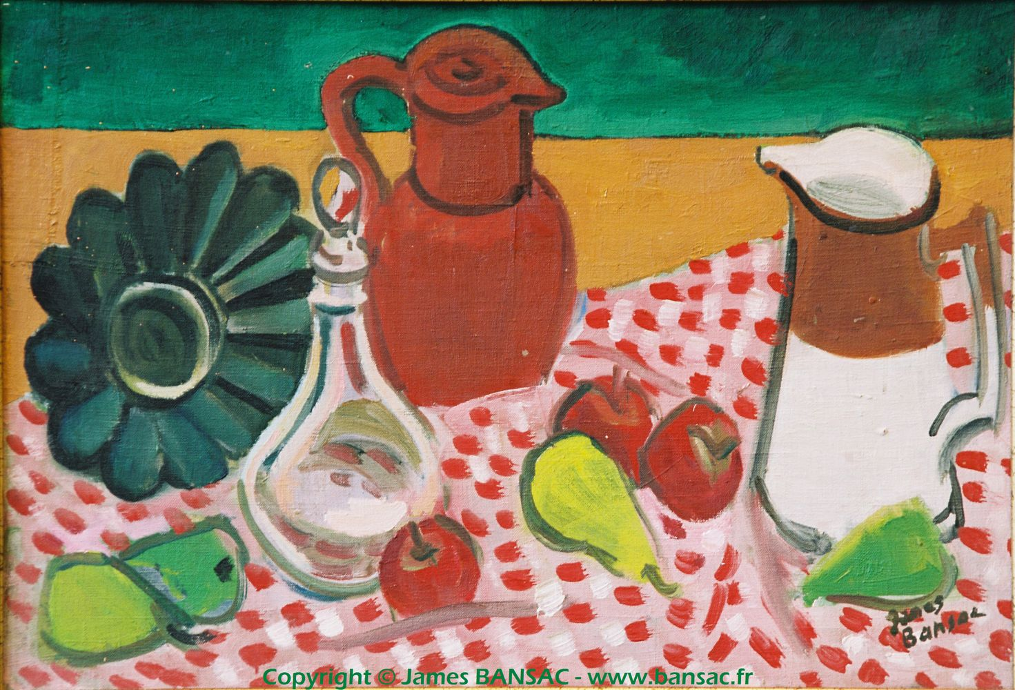 Nature morte : nappe à carreaux - 1947